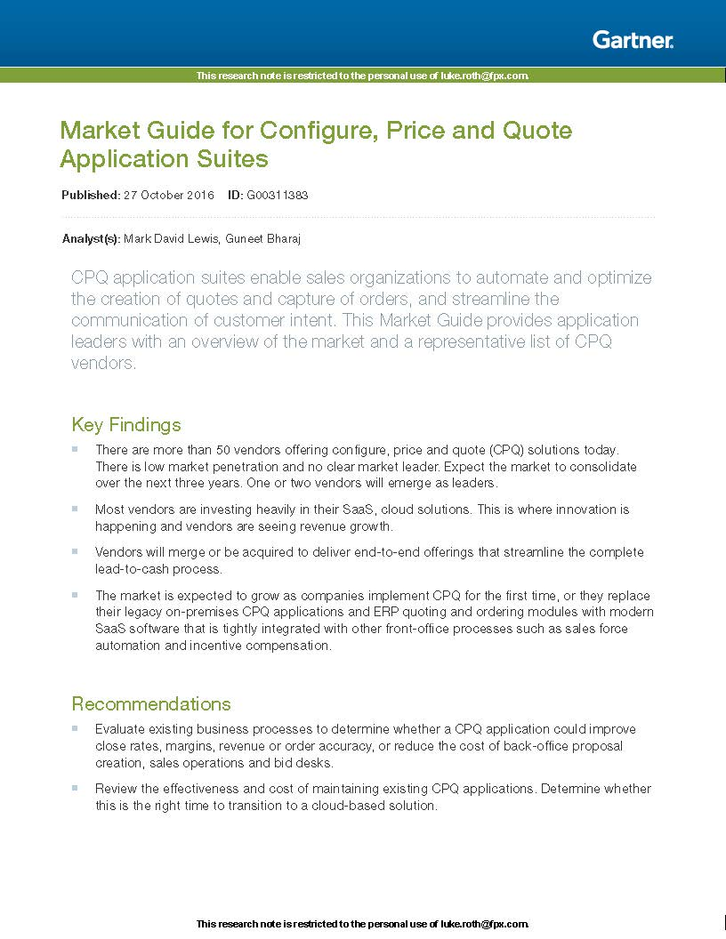 Download the Gartner CPQ Market Guide